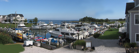 Tilghman Island Marina overlooking Chesapeake Bay and Knapps Narrows Inlet